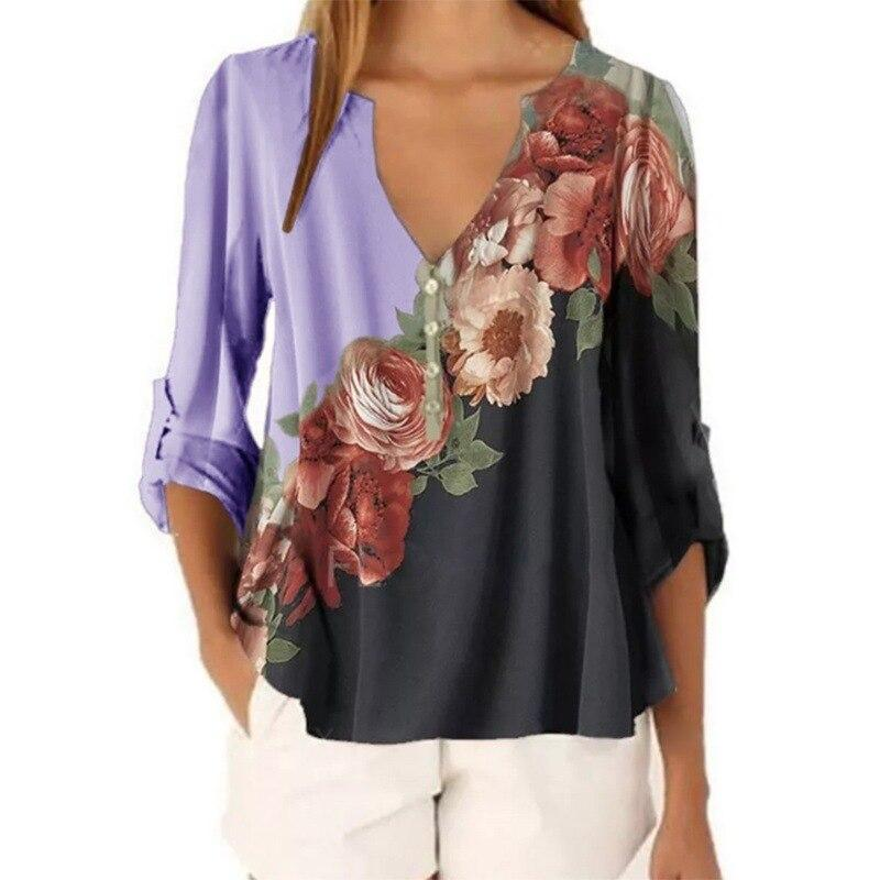 Floral Print Color Splicing Top - Fashion Bug Online