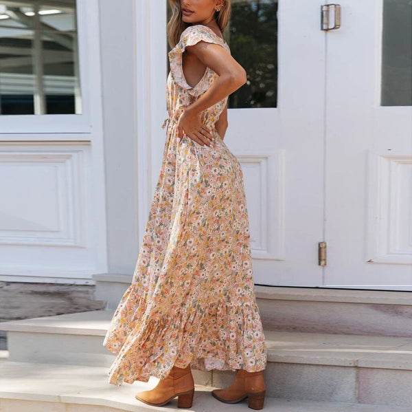 Floral Print Long Chiffon Dress - Fashion Bug Online