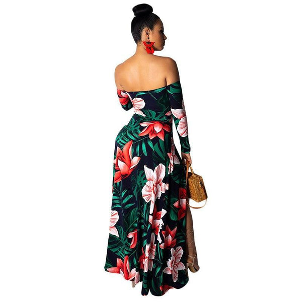 Floral Print Off Shoulder Split Long Dress - Fashion Bug Online