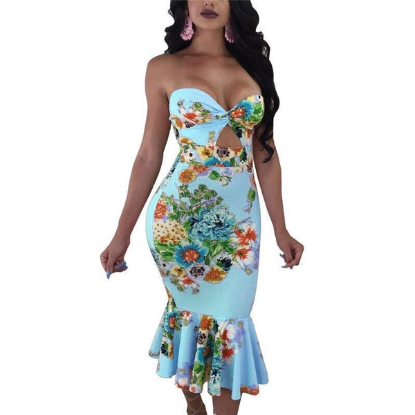 Floral Print Strapless Ruffles Mermaid Dress - Fashion Bug Online