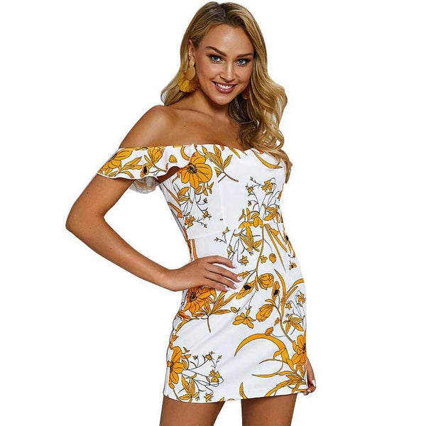 Floral Sleeveless Sling Print Back Zipper Dress - Fashion Bug Online
