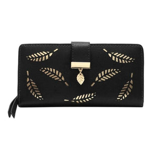Gold leaves leather wallet - Fashion Bug Online
