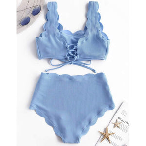 High Waist Wavy Push Up Swimsuit - Fashion Bug Online