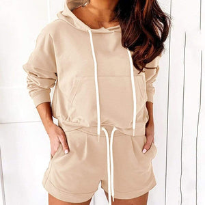 Hoodies Sweatshirt + Sporting Shorts Set - Fashion Bug Online