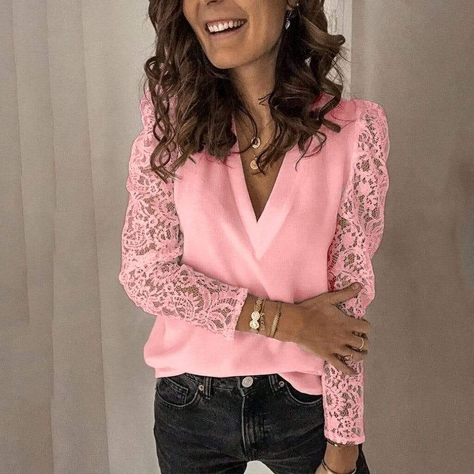 Lace Patchwork Long Sleeve Blouse - Fashion Bug Online