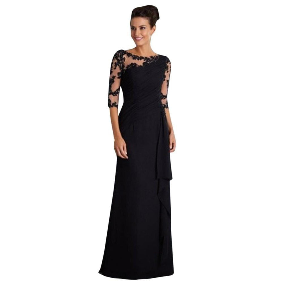 Lace Solid Stitching Round Neck Maxi Dress - Fashion Bug Online