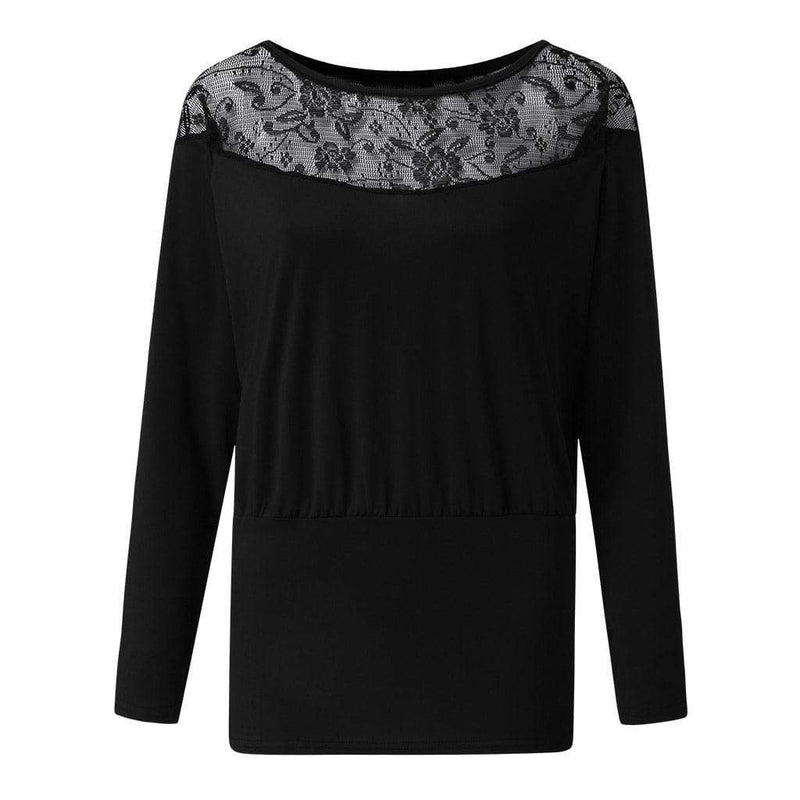 Lacey patchwork round neck shirt - Fashion Bug Online
