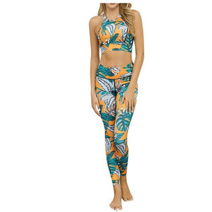 Leaf Digital Print Crop Top and High Waist Pants Tracksuit - Fashion Bug Online