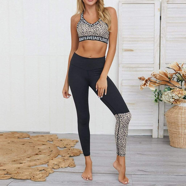 Leopard Letter Print Patchwork Crop Top and High Waist Pants - Fashion Bug Online