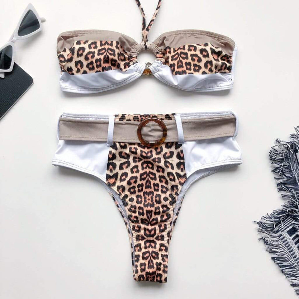 Leopard Print Splice High Waist Lace Up Swimsuit - Fashion Bug Online