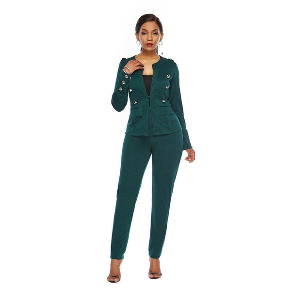 Long Sleeve Vintage Button Top and Long Pant Set - Fashion Bug Online