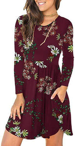 Long-sleeved Flowers Pullover Dress - Fashion Bug Online