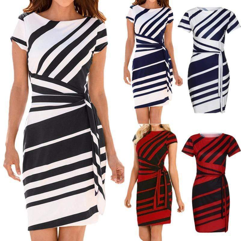 Mine forever Pencil Stripe Casual Dress - Fashion Bug Online