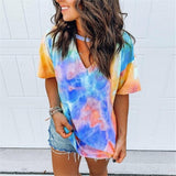 Neck Strap Tie Dye Short Sleeve Top - Fashion Bug Online