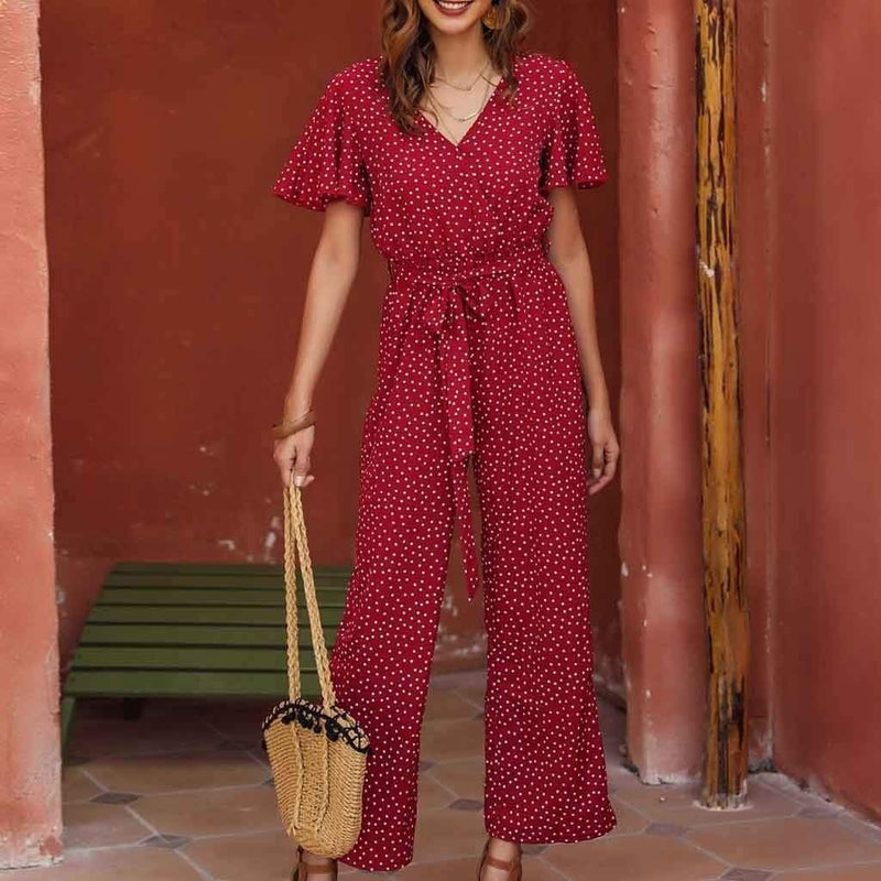 New love red polka dot jumpsuit - Fashion Bug Online