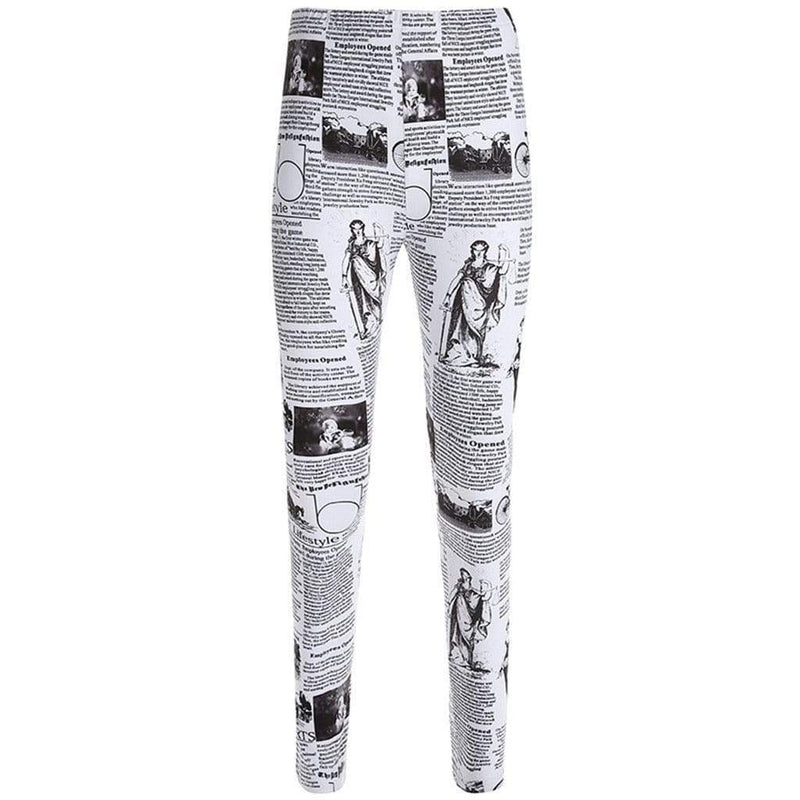 Newspaper print workout leggings - Fashion Bug Online
