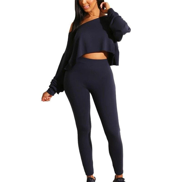 Off Shoulder Long Sleeve Tight Top and Long Pant Set - Fashion Bug Online