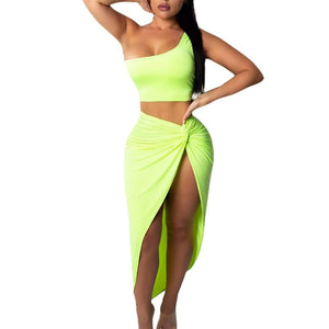 One Shoulder Crop Top and Split Skirt - Fashion Bug Online