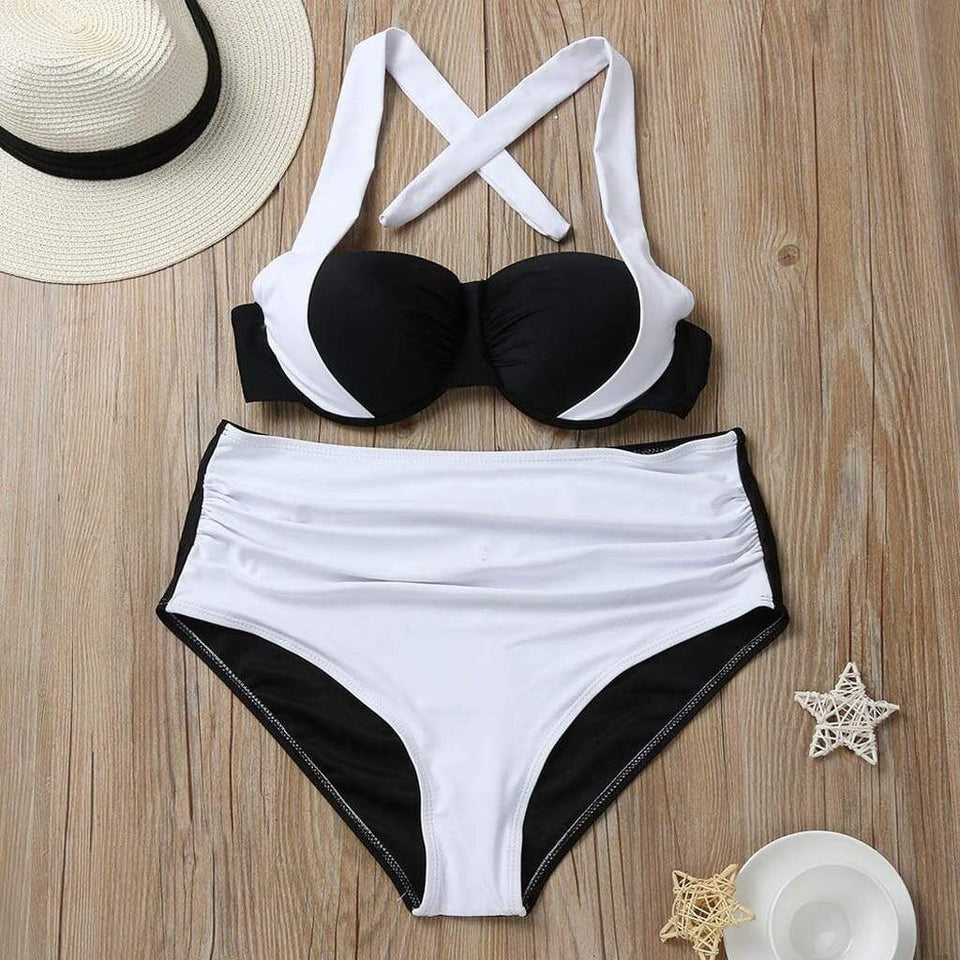 Patchwork High Waist Swimsuit - Fashion Bug Online