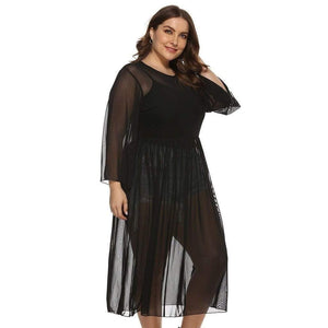 Perspective Mesh Loose Midi Smock Dress - Fashion Bug Online