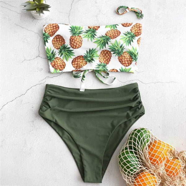 Pineapple Knotted Strapless Bikini - Fashion Bug Online