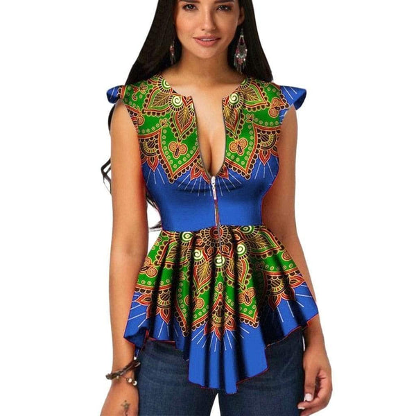 Playful african print sleeveless blouse - Fashion Bug Online