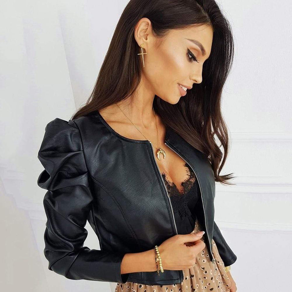 Puffy Long Sleeve Pu Leather Jacket With Zipper - Fashion Bug Online