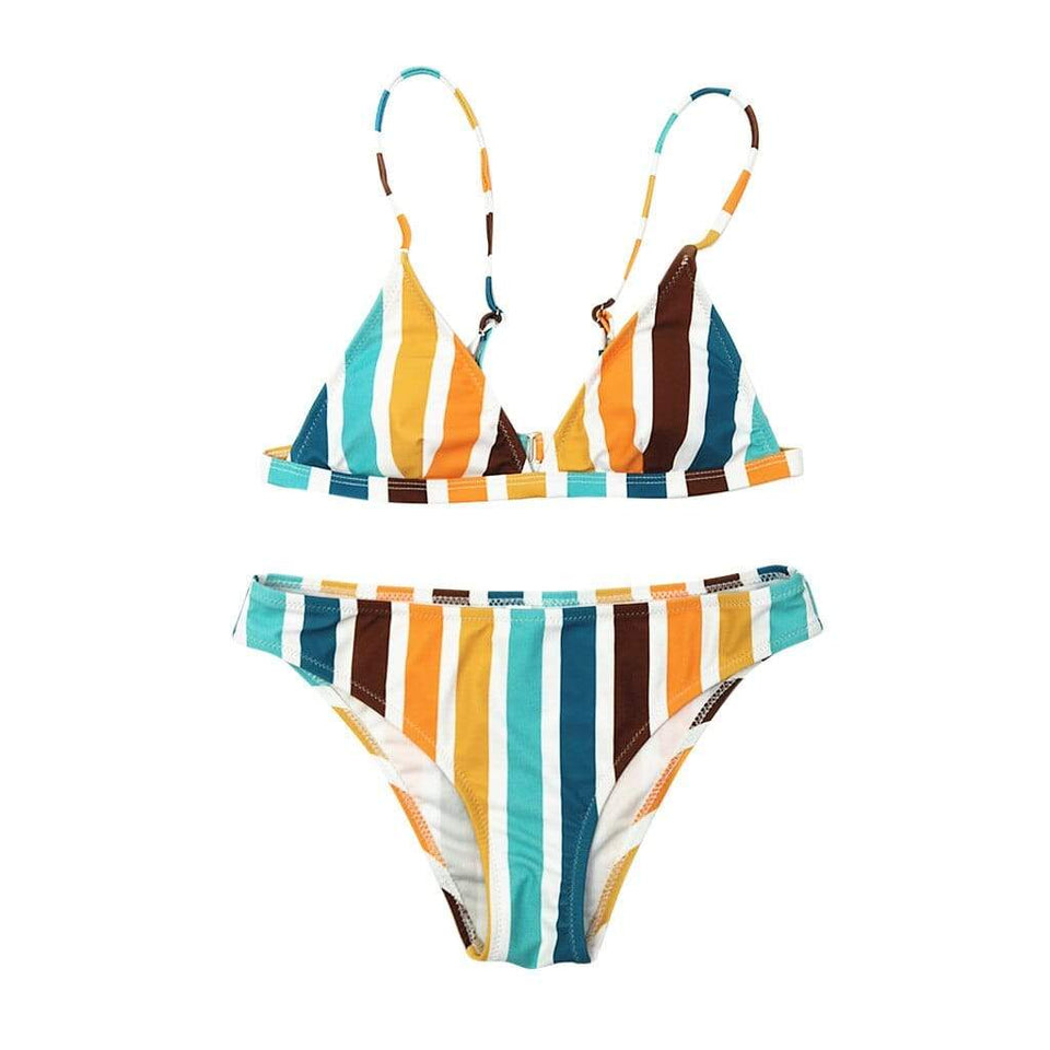Rainbow Striped Print Swimsuit - Fashion Bug Online