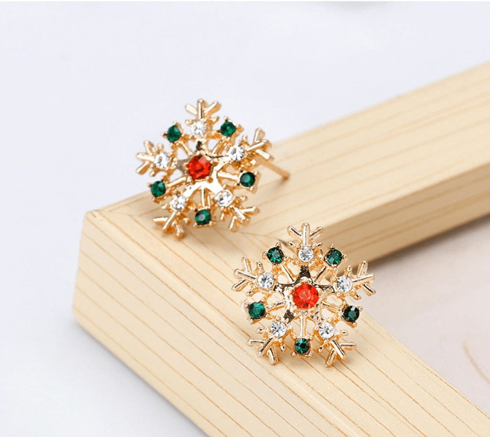 Red and blue crystals snowflake stud earrings - Fashion Bug Online