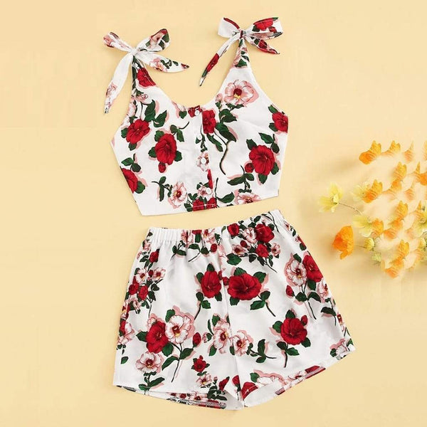 Red Floral Print Bow Knot Crop Top and Shorts - Fashion Bug Online