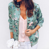 Retro Floral Zipper Up Bomber Casual Jacket - Fashion Bug Online