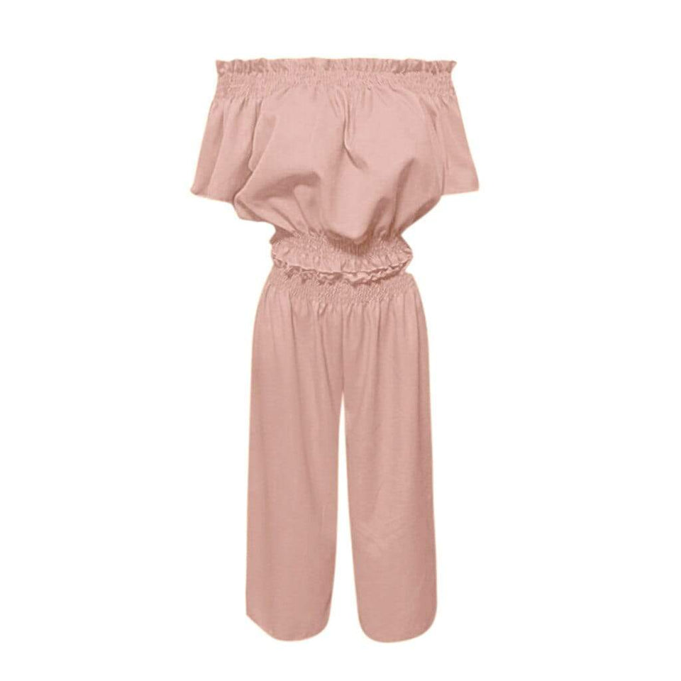 Ruched Slash Neck Crop Top and Wide Leg Pants - Fashion Bug Online