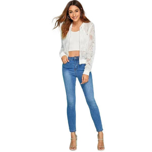 See Through Slim Lace Jacket - Fashion Bug Online