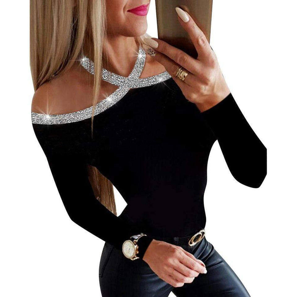 Sequined collar hollow out blouse - Fashion Bug Online