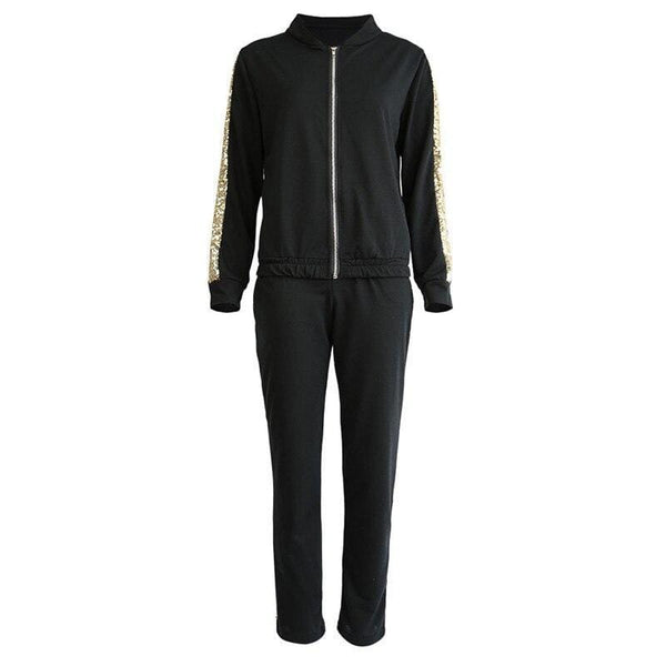 Sequins Stitching Zipper Sweatshirt Tops and Long Pants - Fashion Bug Online