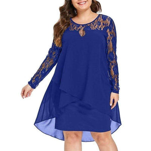 Sheer Lace Sleeve High Low Hem Swing Dress - Fashion Bug Online