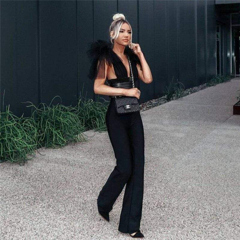 Sheer Mesh Bow Fashion Jumpsuit - Fashion Bug Online