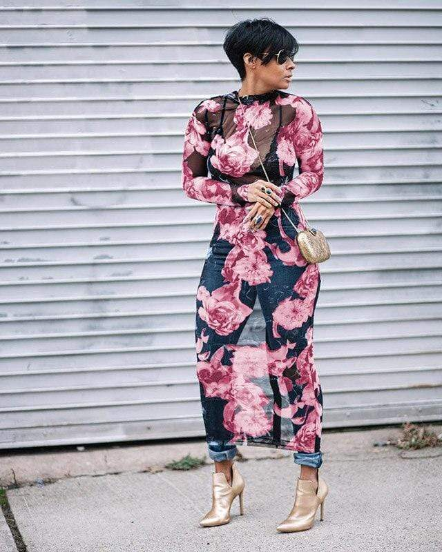 Sheer Mesh Floral Long Sleeve Maxi Dress - Fashion Bug Online
