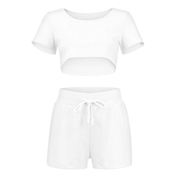 Short-Sleeve Crop Top With Bandage Elastic High Waist Shorts - Fashion Bug Online