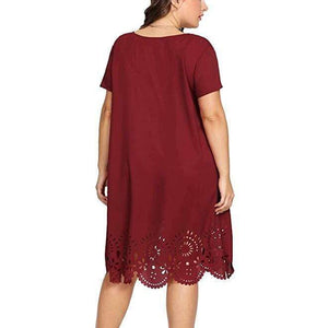 Short Sleeve Hollow Out Fringe Dress - Fashion Bug Online