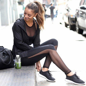 Side and bottom transparent mesh leggings - Fashion Bug Online