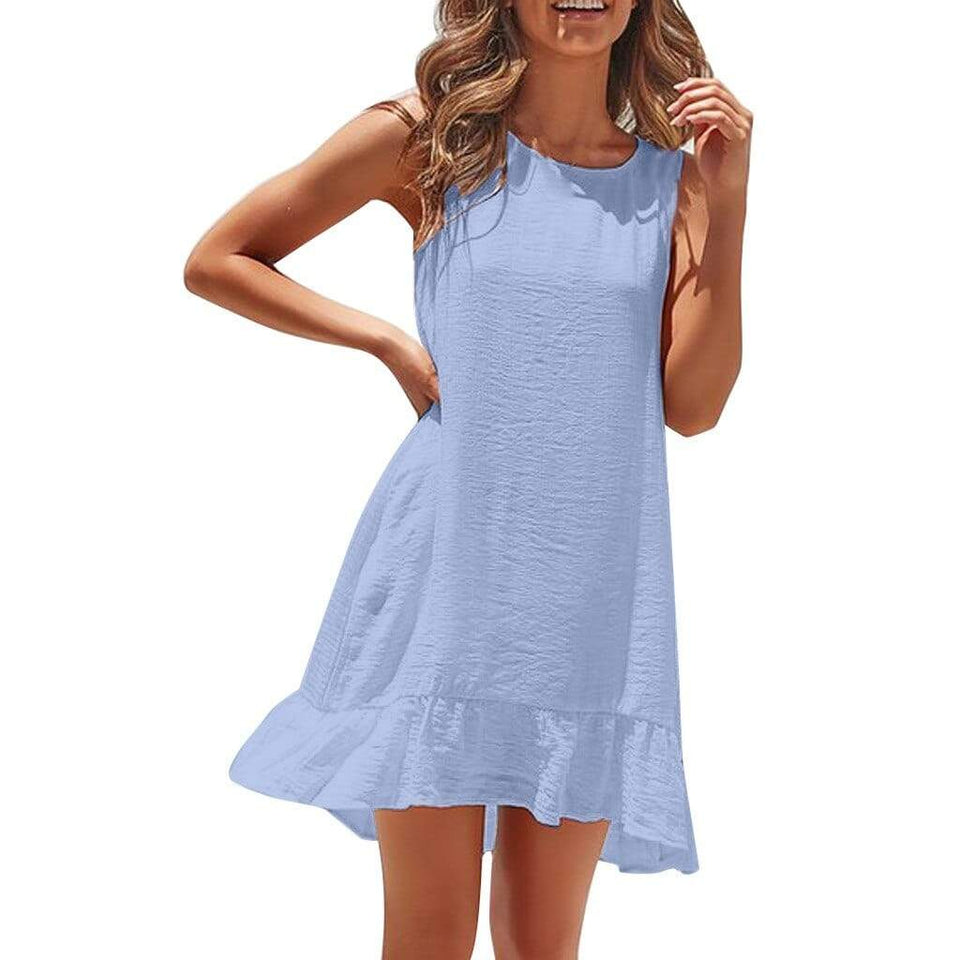 Sleeveless Ruffles Casual Pleated Dress - Fashion Bug Online