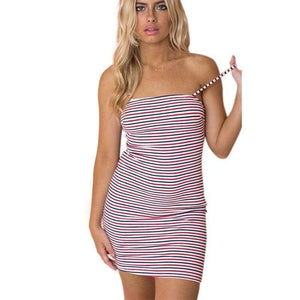Sleeveless Slim Fit Striped Pullover Dress - Fashion Bug Online