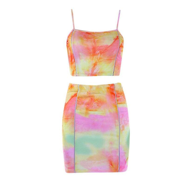 Sleeveless Sling Multicolor Gradient Tie-dye Top and Skirt - Fashion Bug Online