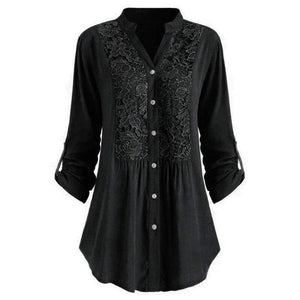 Solid Lace Panel Button-up Shirt - Fashion Bug Online