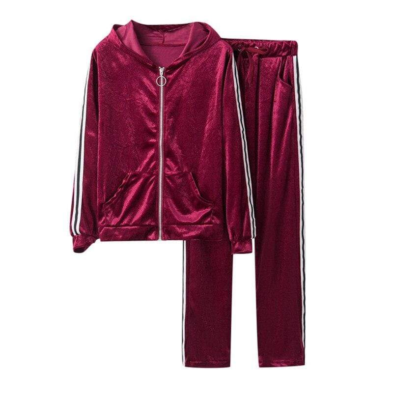 Splice Gold Velvet Sweatshirt and Top Side Striped Pants - Fashion Bug Online