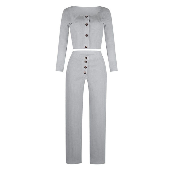 Square Collar Top and Long Pants Set - Fashion Bug Online