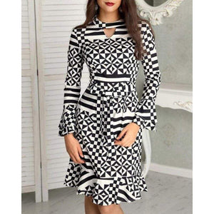 Square Pattern Printed Flare Sleeves Dress - Fashion Bug Online