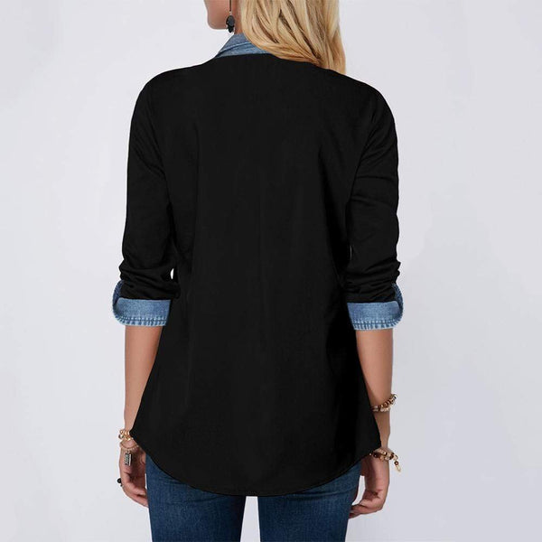 Stitching denim spliced shirt - Fashion Bug Online