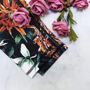 Stretchy Flower Digital Print Crop Top and High Waist Pants - Fashion Bug Online